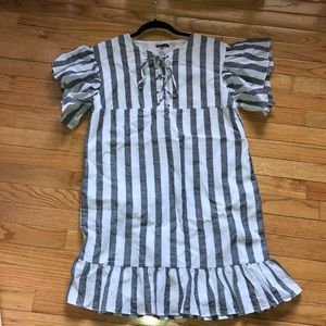 Who What Wear Linen Striped Lace Up Ruffle Dress
